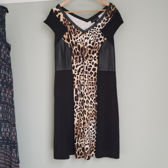 Lane Bryant Dresses & Skirts - Leopard print dress with faux leather side panels